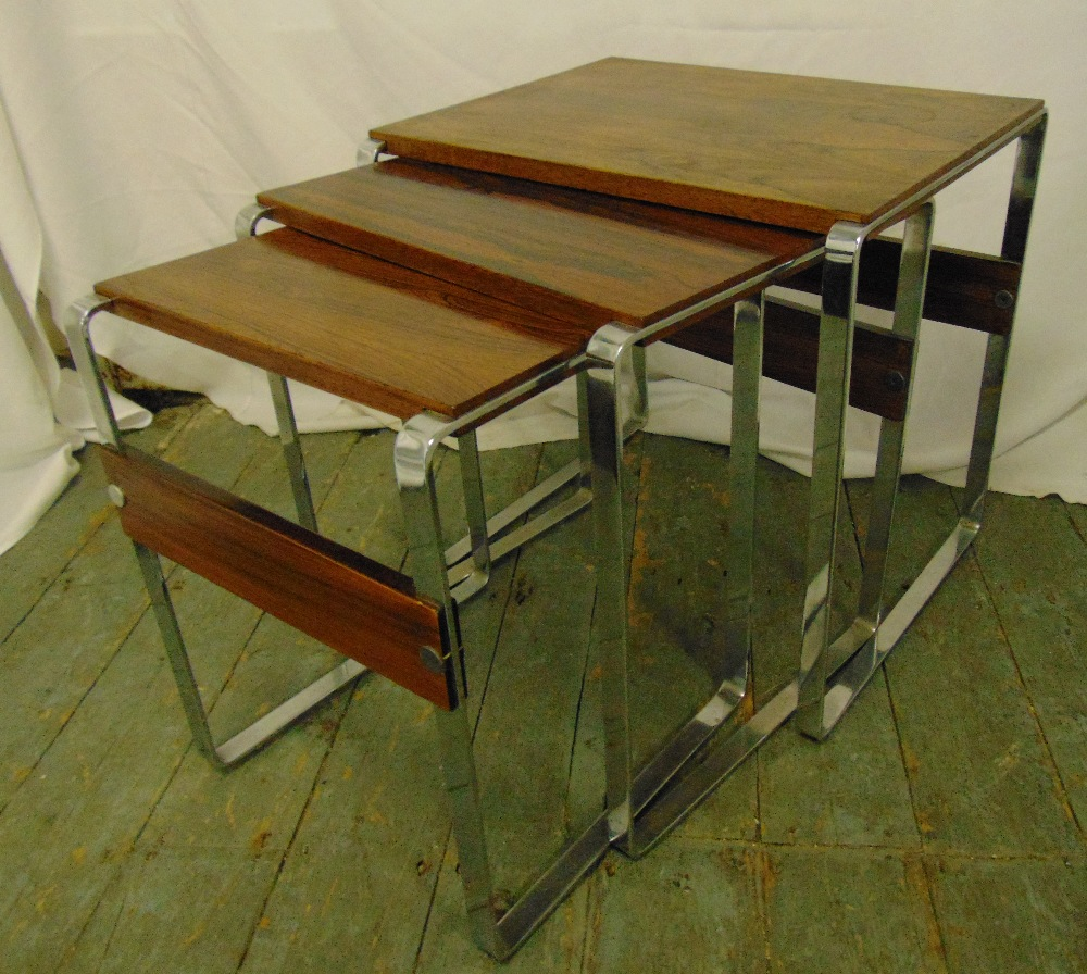 Lot 19 - A chrome and wooden nest of three rectangular tables circa 1970, 50 x 50 x 38cm