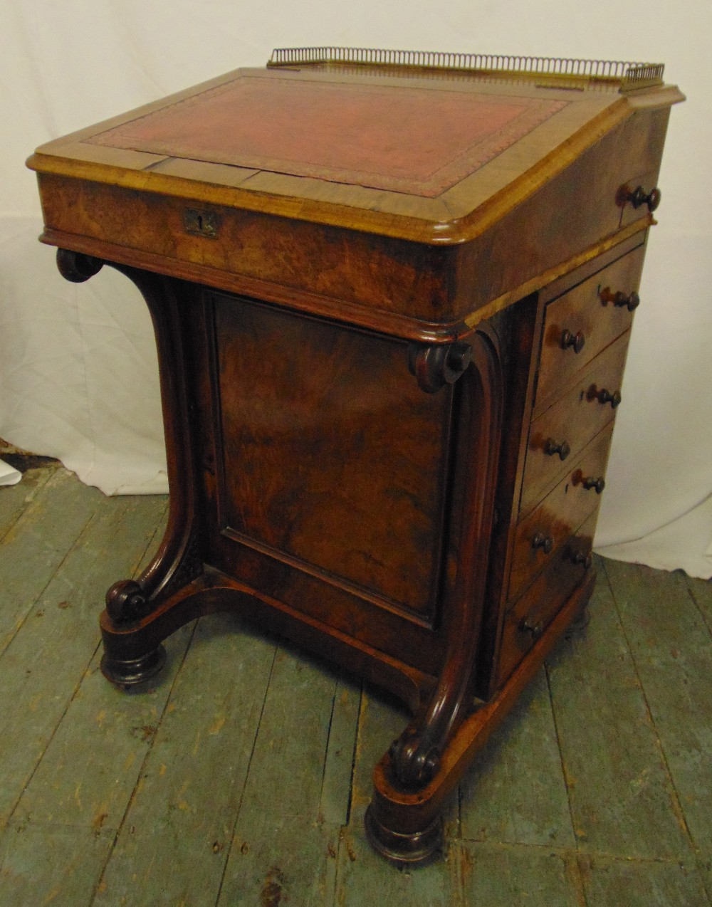 Lot 14 - Victorian mahogany Davenport of customary form with inlaid leather desk, 82 x 53.5 x 52cm