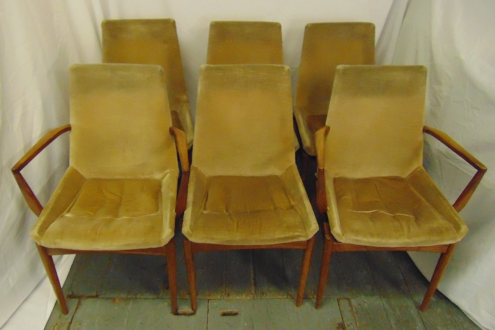 Lot 3 - A set of six 1970s Archie Shine upholstered dining chairs to include two carvers