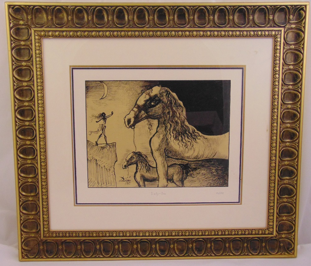 Lot 42 - Salvador Dali framed and glazed mono serigraph titled Sixty One, limited edition 276/2751, 30.5 x