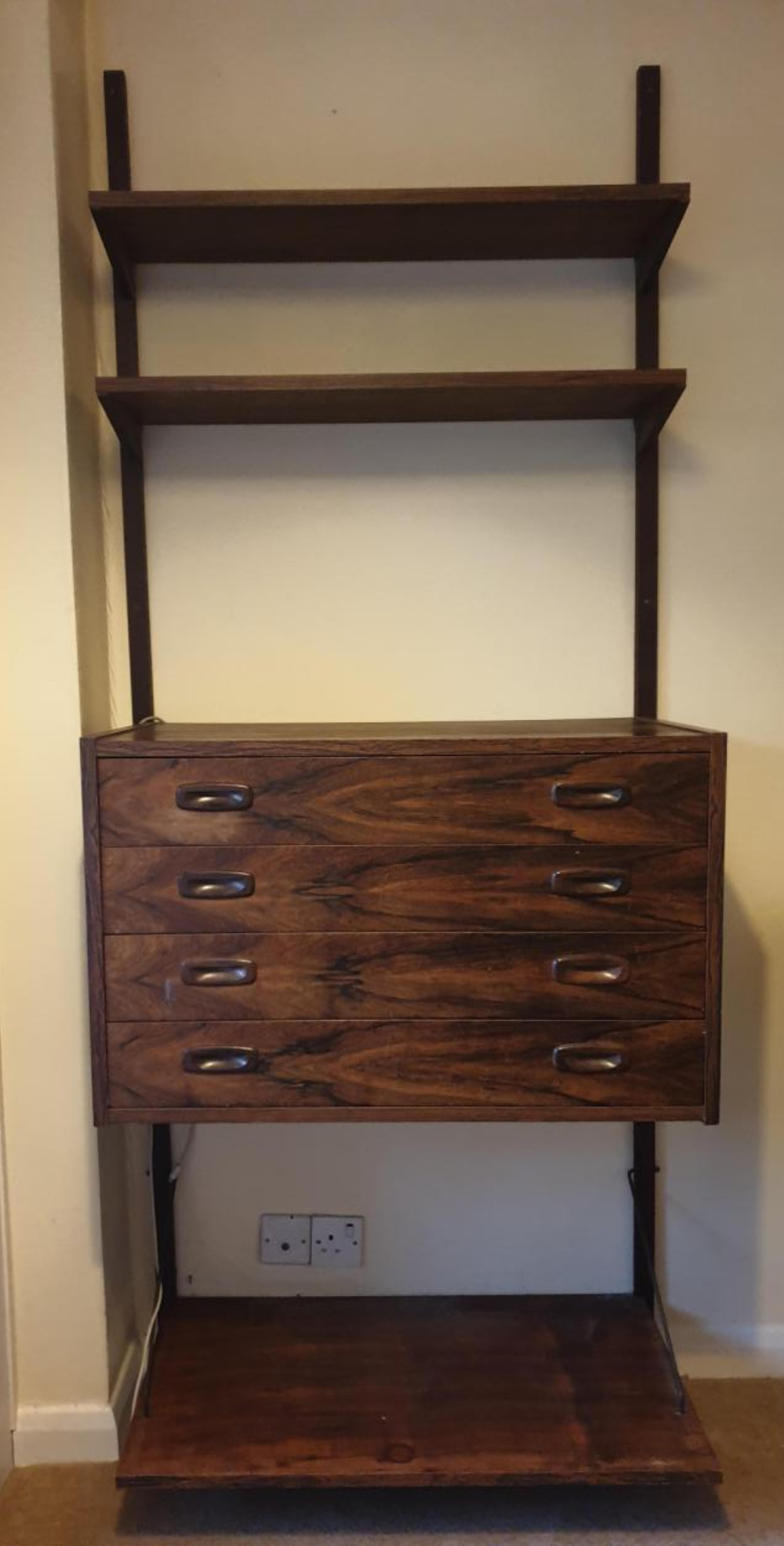 Lot 6 - Rosewood rectangular wall mounted unit comprising a four drawer cabinet and two shelves, approx