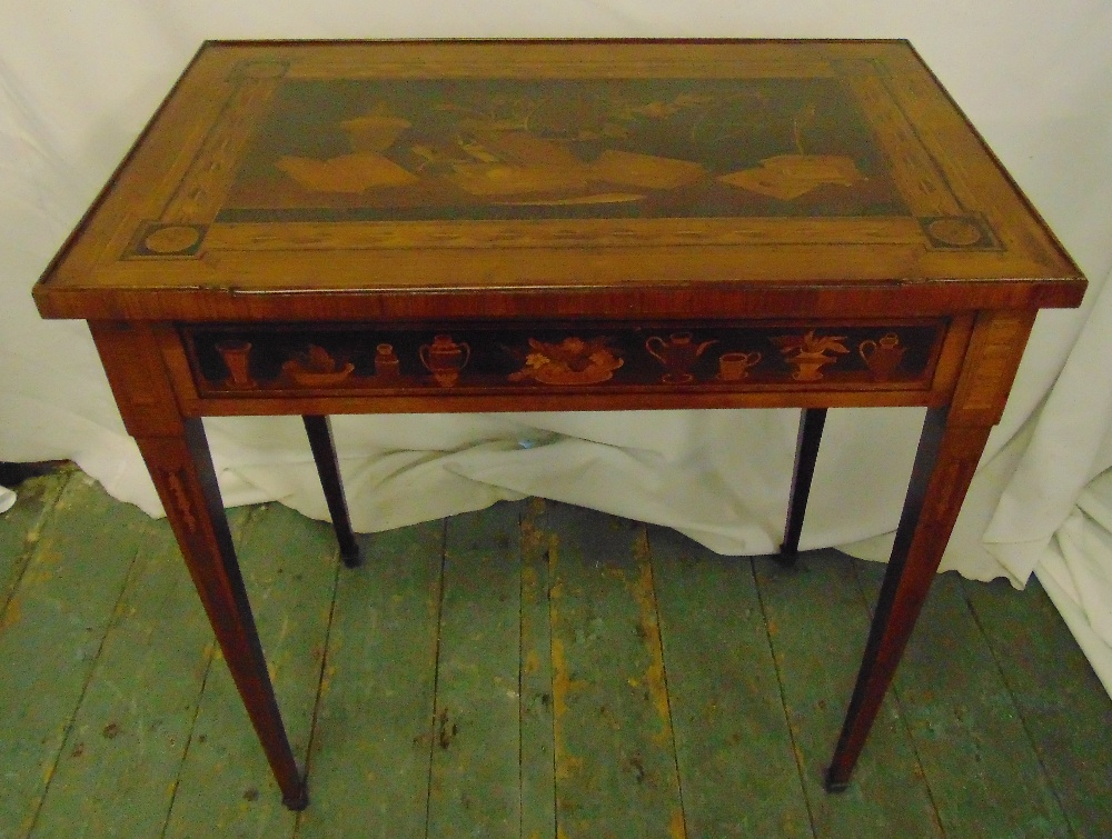 Lot 13 - A rectangular mahogany inlaid side table with single drawer on four tapering rectangular legs, 68