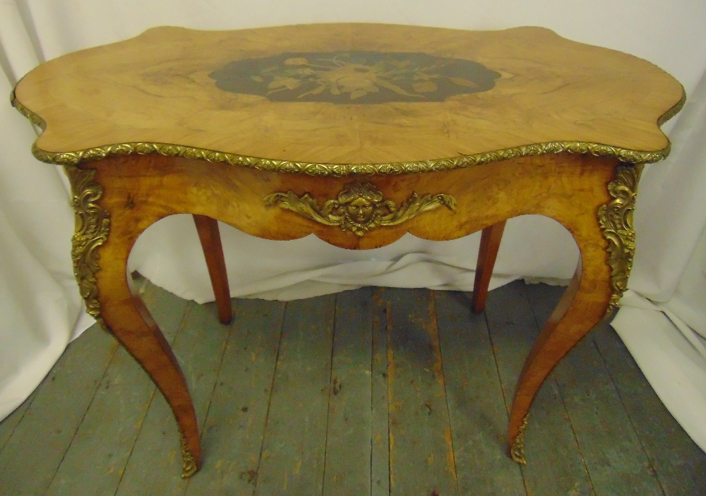 Lot 9 - A 19th century Louis XVI style shaped rectangular hall table with gilt metal mounts, on four