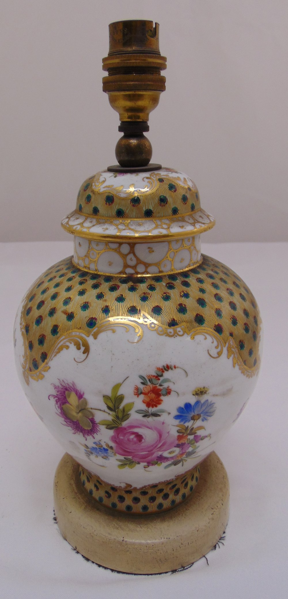Lot 40 - A continental porcelain vase and cover converted to a lamp base, 20cm (h)