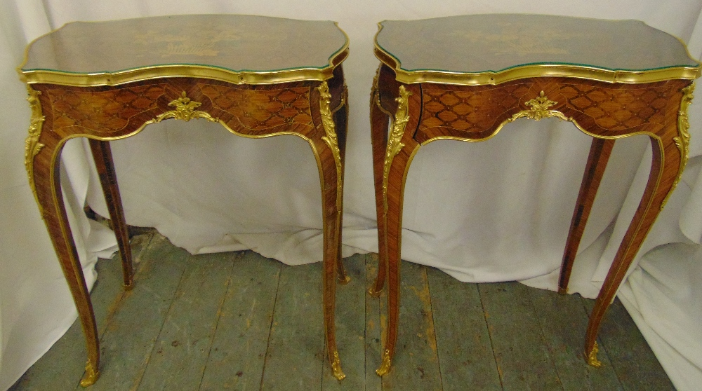 Lot 10 - A pair of continental kingswood and gilt metal kidney shaped side tables on cabriole legs, 73.5 x 57