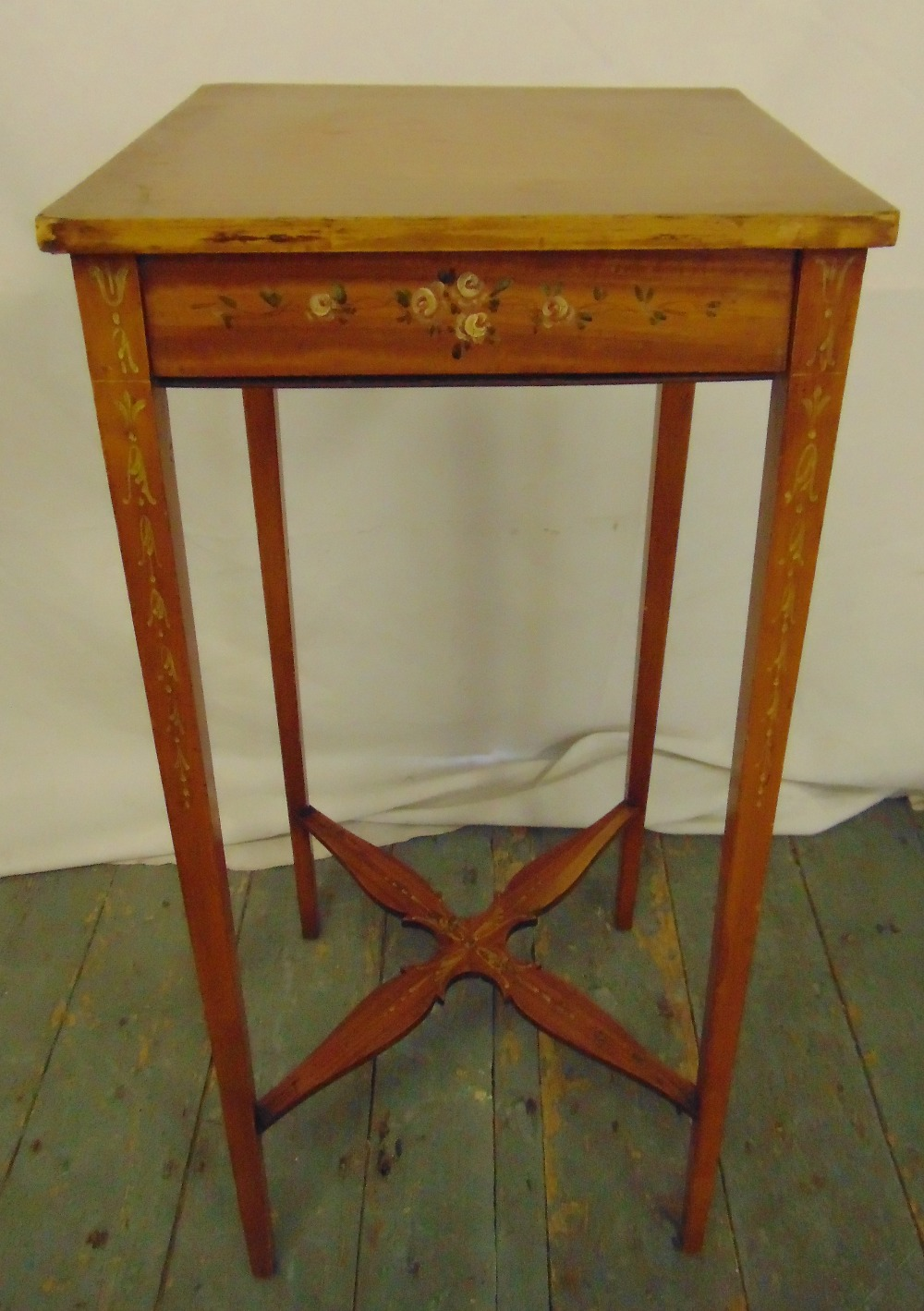 Lot 17 - A painted fruit wood plant stand on four tapering rectangular legs, 71.5cm (h)