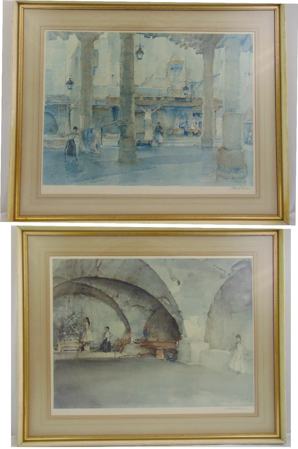 Lot 41 - Two framed and glazed Russell Flint polychromatic lithographs signed bottom right, gallery stamped