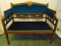 An Edwardian rectangular mahogany two seater settle, pierced gallery and inlaid with satinwood