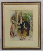 A framed and glazed lithographic print of figures in an interior setting indistinctly signed