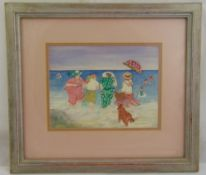 Gillian Lawson framed and glazed watercolour of figures in the sea titled Taking a Dip, signed and