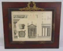 A 19th century monochromatic French architectural print in wooden frame with gilt metal mounts in