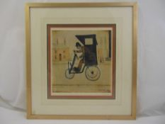 L S Lowry framed and glazed polychromatic lithographic print, The contraption, signed in the