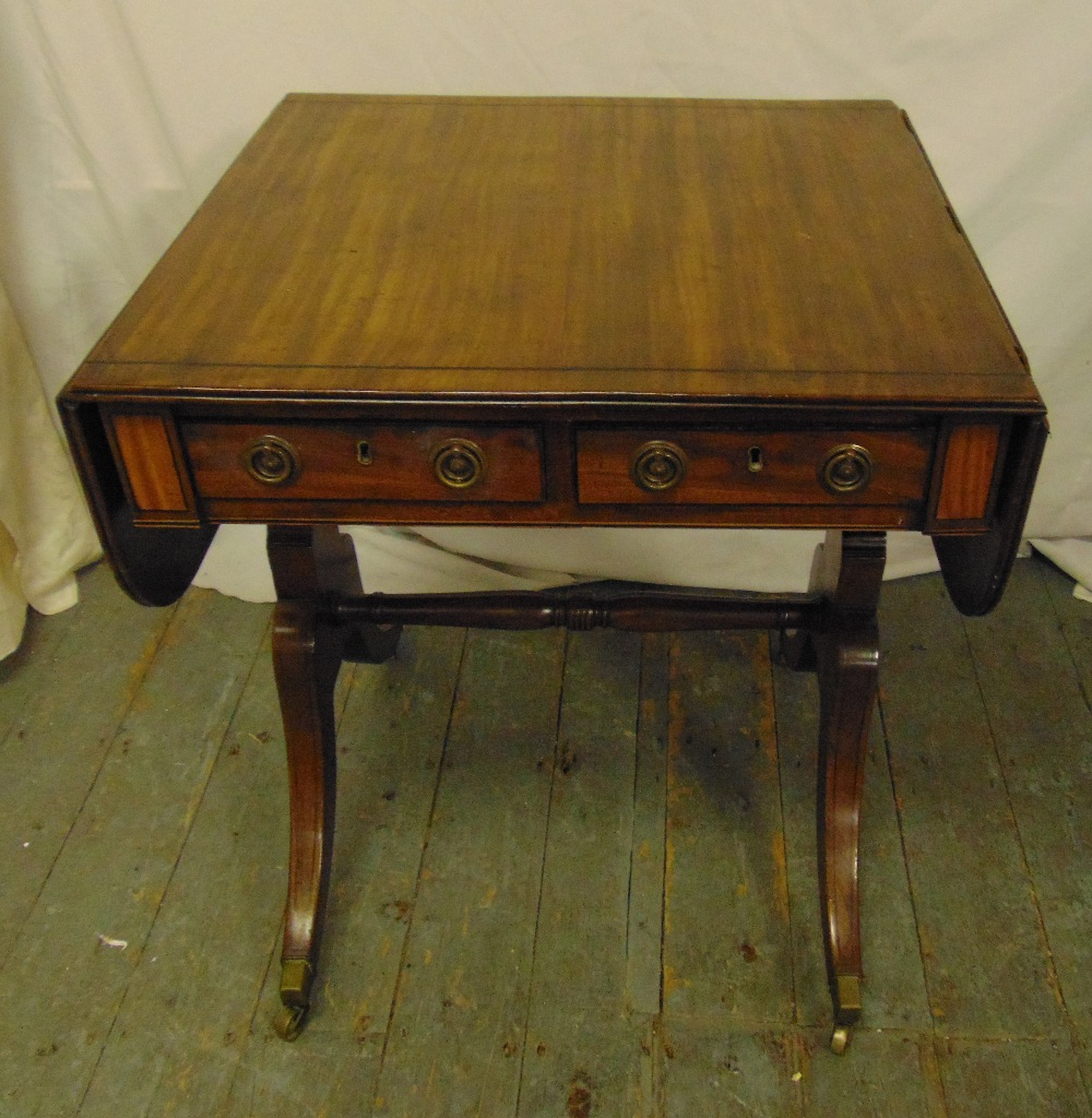 Lot 5 - A rectangular mahogany drop flap sofa table with two drawers on cabriole legs, A/F, 73 x 104 x 58.