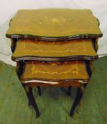 A nest of three shaped rectangular Kingswood tables with floral satinwood inlays to the tops, 59 x