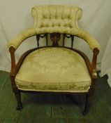 An Edwardian mahogany inlaid satinwood upholstered ladies chair on original castors, 79 x 64 x 67cm