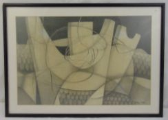 Evelyn Hill framed and glazed monochromatic pencil drawing, signed bottom right, 34 x 51.5cm