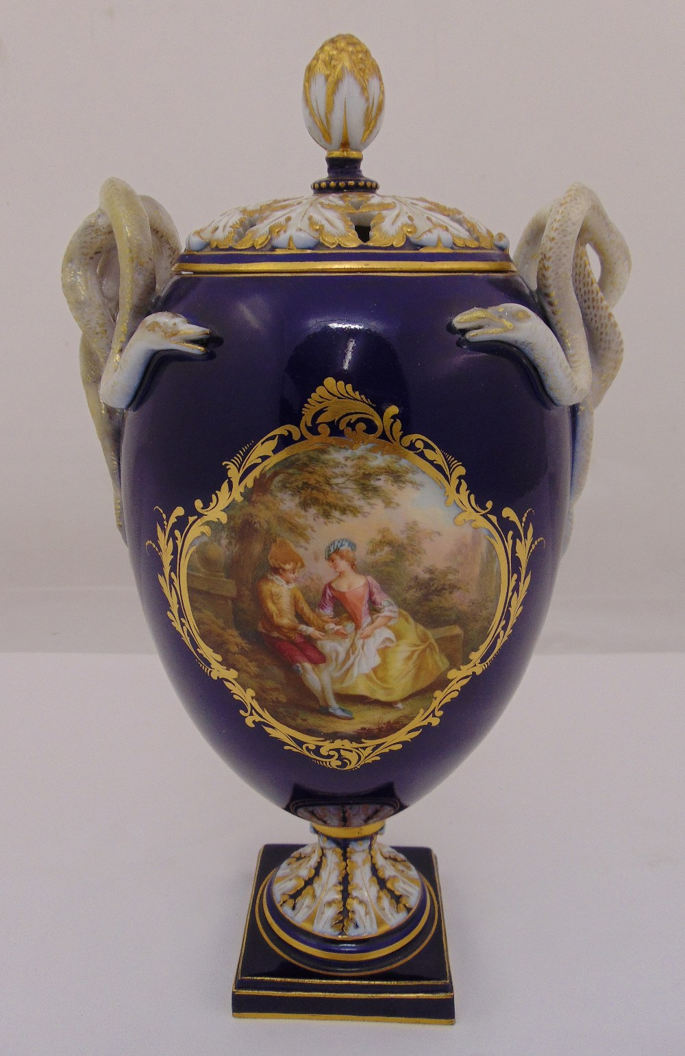 Lot 115 - Meissen potpourri urn with pull off cover, painted with idyllic rural scenes after Boucher with