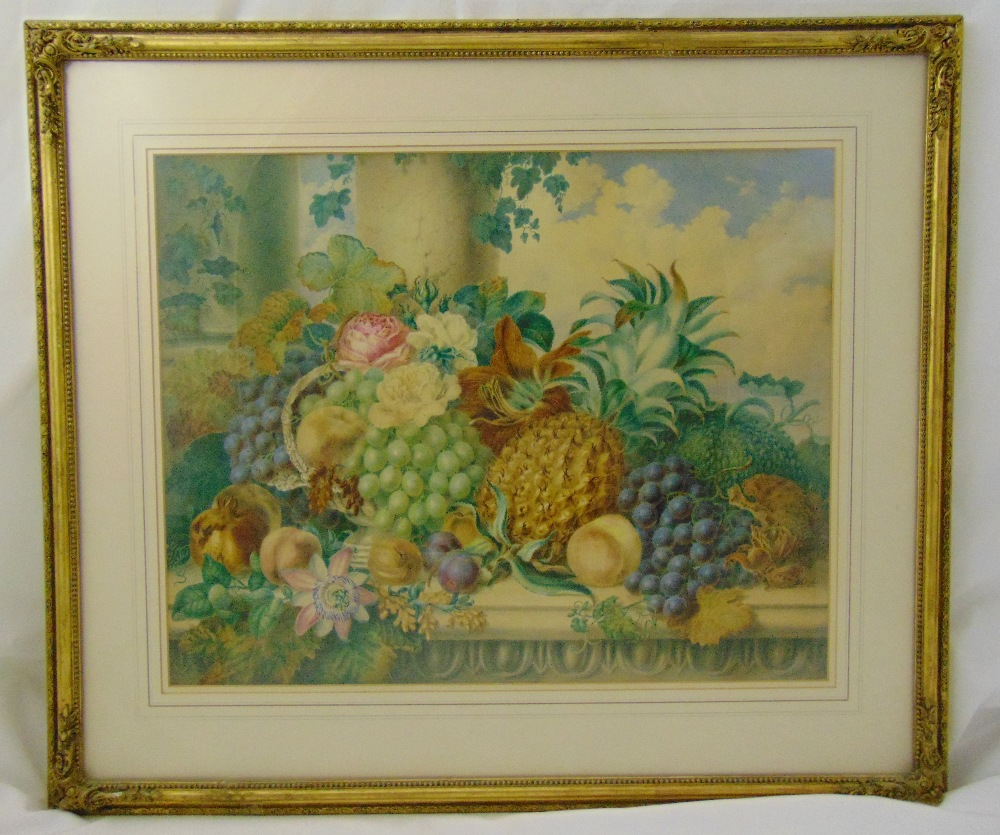Lot 53 - Emma Walter framed and glazed still life watercolour titled Just Gathered, signed and dated 1857