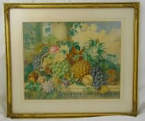 Emma Walter framed and glazed still life watercolour titled Just Gathered, signed and dated 1857
