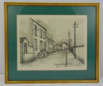 A framed and glazed monochromatic lithographic print of a road and houses, in the style of Bernard