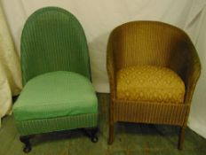 Two Lloyd Loom lusty chairs to include a nursing chair, labels to bases, green chair 83 x 49 x
