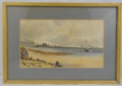 J White framed and glazed watercolour of a beach and seascape, signed and dated 1901 bottom left, 18