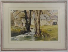 Roy Mason framed and glazed watercolour of a house by a river, signed bottom right, 35 x 53cm