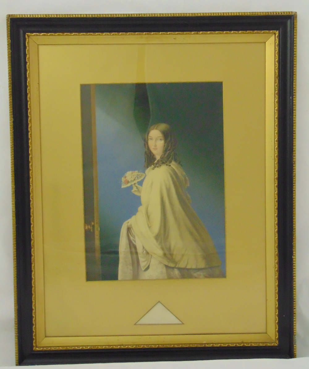 Lot 51 - A Victorian framed and glazed hand coloured etching titled The Bridesmaid, 37 x 26cm