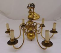 A brass six branch chandelier in 17th century style, 37 x 54cm