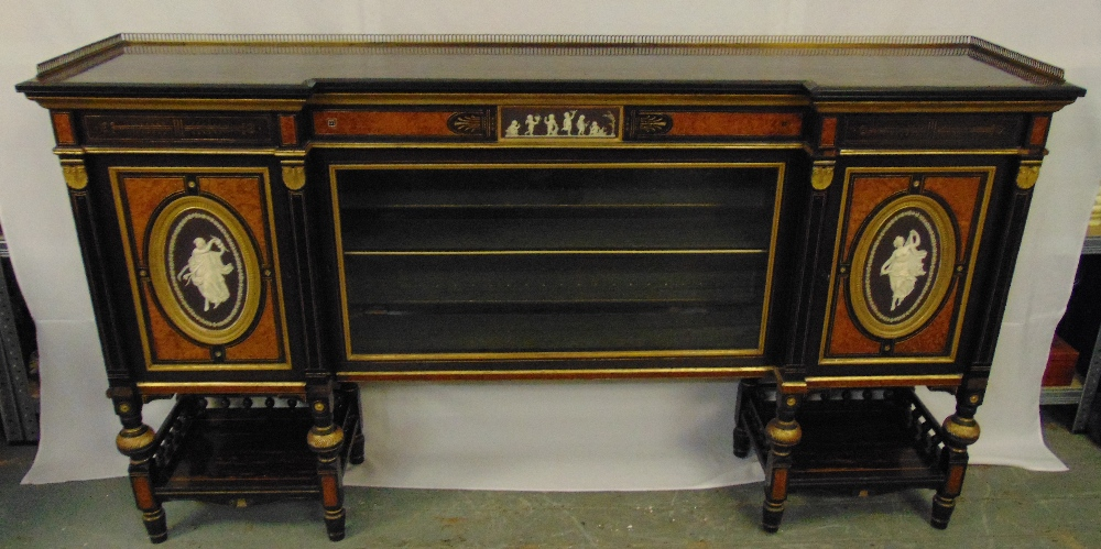 Lot 2 - A 19th century credenza of rectangular form, the ebonised body inset with Wedgewood plaques,