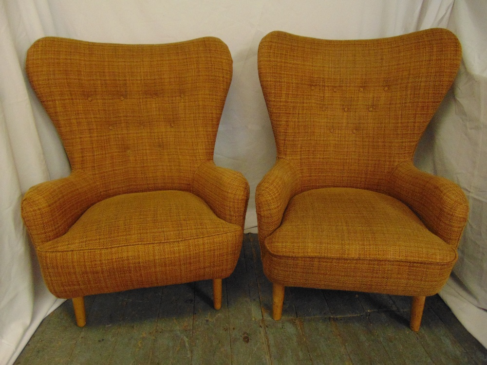 Lot 7 - A pair of Ernest Race mid 20th century DA upholstered armchairs, metal base on four tubular beech