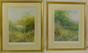 Hillary Soffield a pair of framed and glazed limited edition prints of cottage gardens, signed