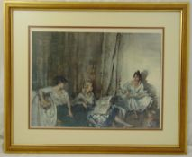 William Russell Flint framed and glazed lithographic print of three ladies, 43 x 58cm