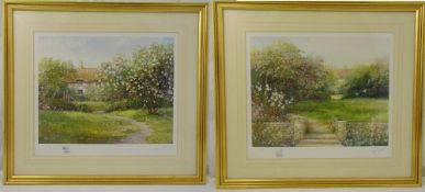 Hillary Soffield a pair of framed and glazed limited edition prints of English country gardens,