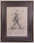 Salvador Dali framed and glazed monochromatic limited edition print of the jester 22/50, to