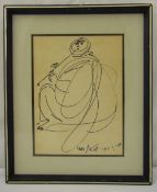 Yossi Stern framed and glazed monochromatic sketch of a figure playing a flute, signed and dated