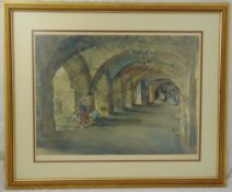 William Russell Flint framed and glazed lithographic print of ladies in a cavern numbered 552/850,