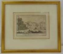Giovanni Piranasi framed and glazed monochromatic etching of classical ruins, 12.5 x 18cm