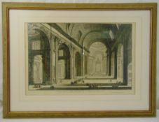 Giovanni Piranasi framed and glazed monochromatic etching of the Interior of St Peters Basilica,