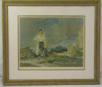 William Russell Flint framed and glazed lithographic print of a lady in a field, signed bottom