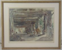 William Russell Flint framed and glazed lithographic print of figures in a courtyard, signed