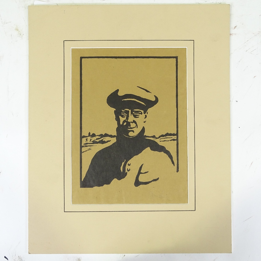 Lot 1333 - G Huardel-Bly, woodcut print on brown paper, the golfer (Prince of Wales), signed in pencil, sheet