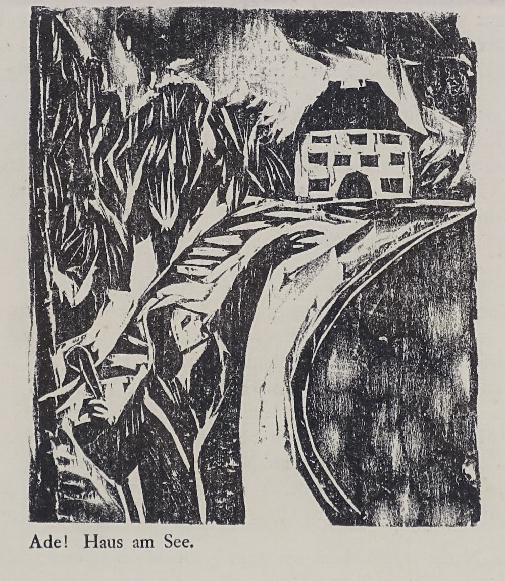 Lot 1164 - Nele Van Der Velde, 2 expressionist woodcut prints, circa 1920, mounted in common frame Very good