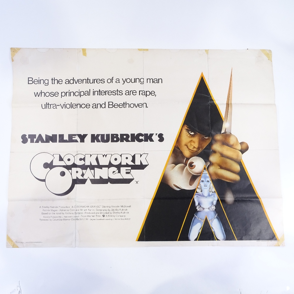 Lot 47 - A Clockwork Orange by Stanley Kubrick, original quad advertising film poster, 75cm x 102cm Folded,