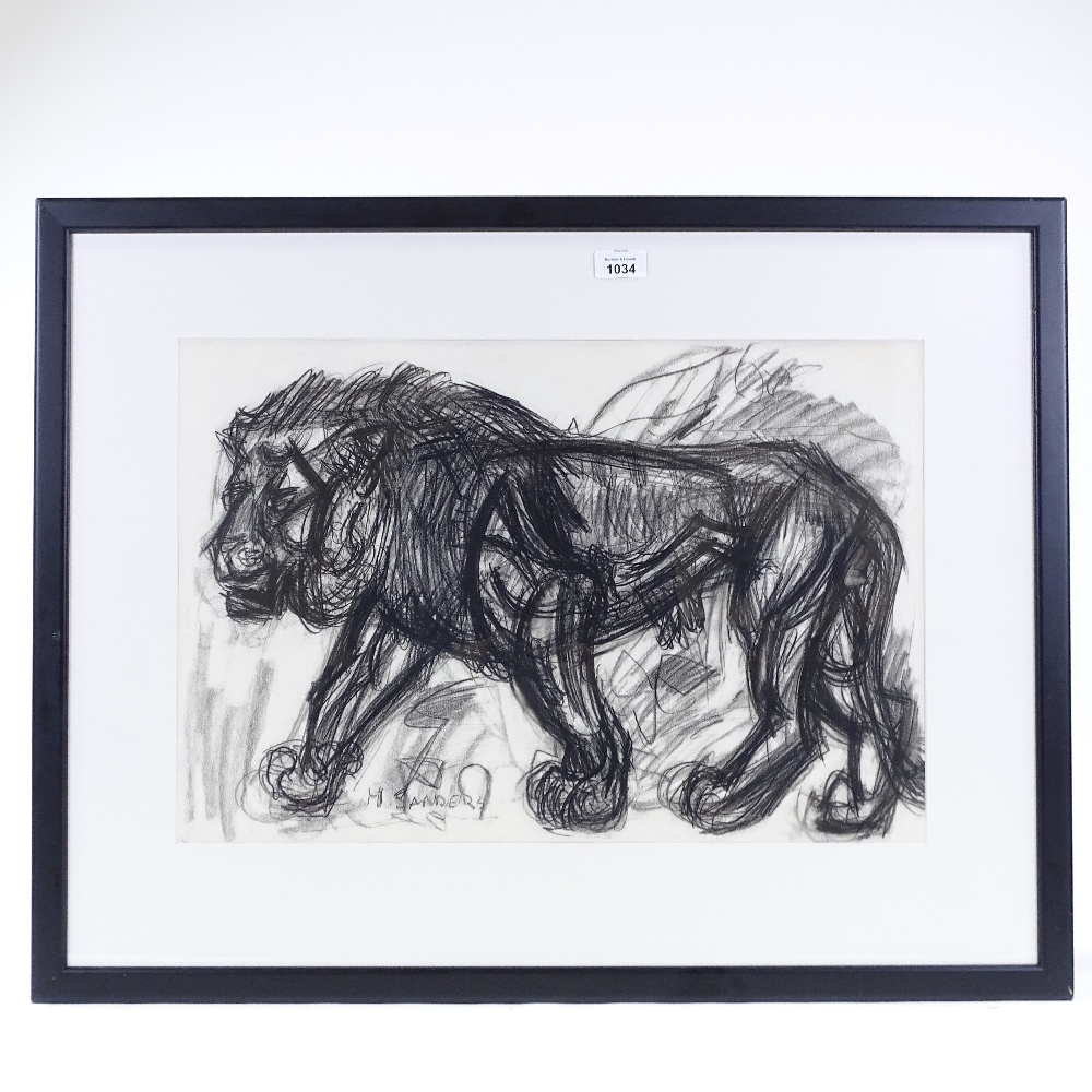 "Lot 1034 - H Sanders, charcoal drawing, lion, signed, 14.5"" x 21"", framed Very good condition"