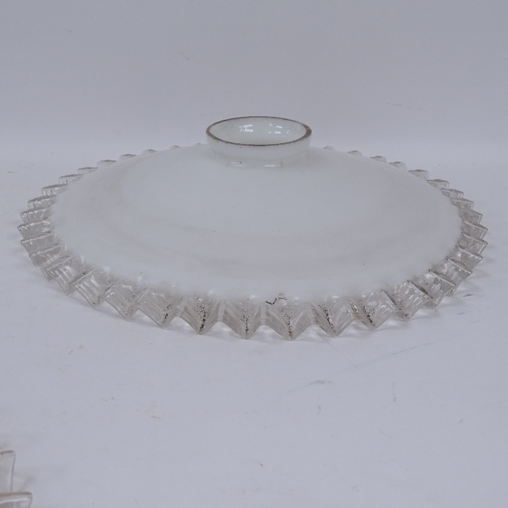 Lot 829 - 9 Antique glass lampshades with frilled edges, largest diameter 25cm