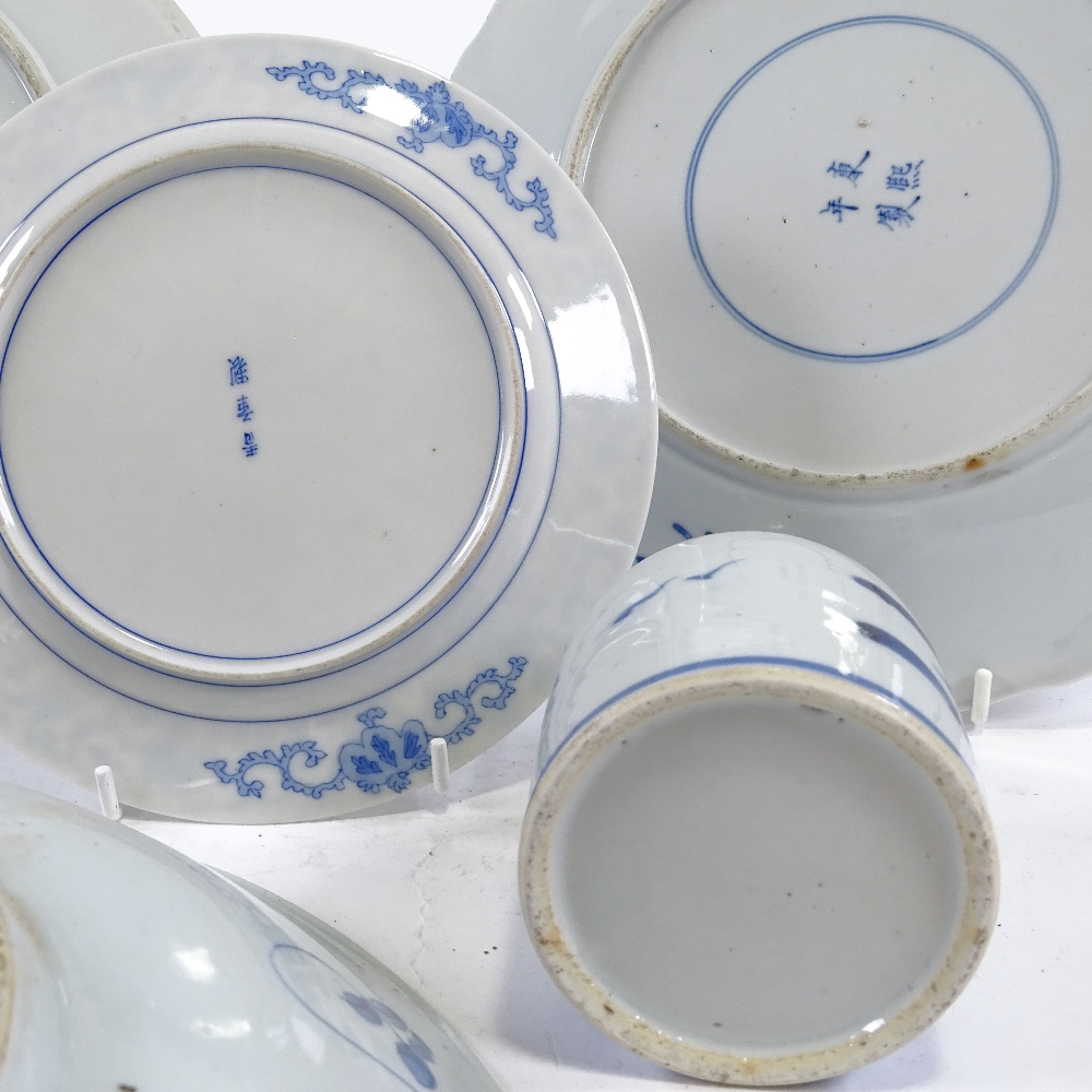 Lot 145 - A group of Chinese blue and white porcelain, largest bowl diameter 36cm (5)