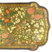 A 19th century Indian Kashmir papier mache tray, with detailed hand painted and gilded exotic
