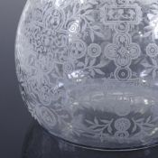 BACCARAT - etched glass decanter with matching fan-shaped stopper, etched signature, height 22cm