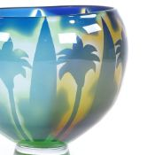Orrefors coloured glass bowl, with etched palm tree design, engraved signature with monogram HW,